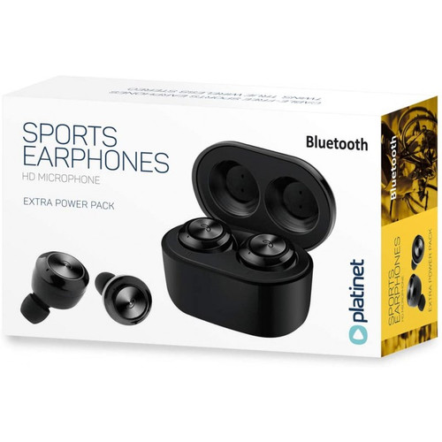PM1085B PLATINET SPORT BLUETOOTH V5.0 EARPHONES BLACK COLOR HD MICROPHONE WITH EXTRA POWER PACK
