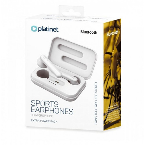 PM1040W PLATINET BLUETOOTH Sports Earphones with HD Microphone & Extra Power Pack. Color: White
