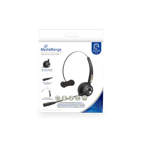 MROS305 Media Range Wireless mono headset with microphone, 180mAh battery, black Media Range PC Bluetooth headsets are ideal for conference calls, video conferences or for speech recognition.