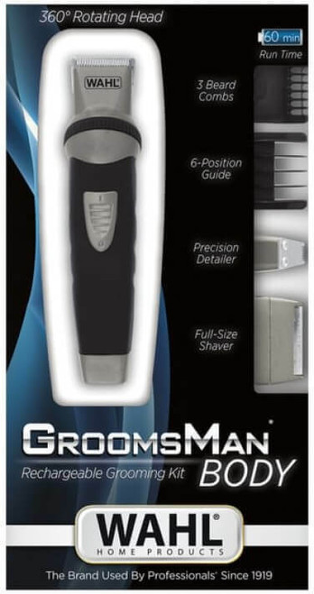 WAHL-09953-1016 WAHL GROOMSMAN BODY RECHARGEABLE GROOMING KIT 360 ROTATING HEAD