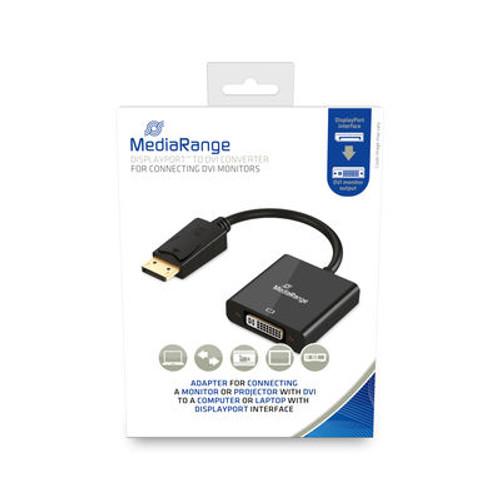 DVI-I (24-5 pin)SOCKET to DISPLAY PORT plug converter. 15cm. Color: Black