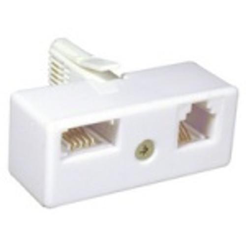 Telephone adaptor UK BT11plug to 1X UK BT11 female and 1X RJ11 female