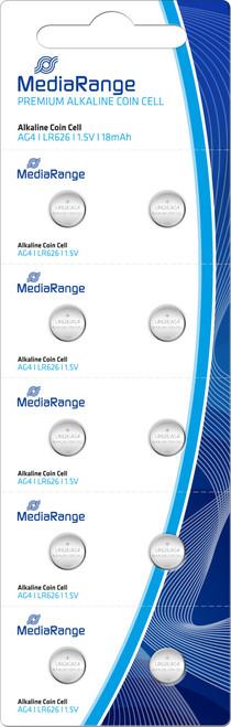MediaRange Premium Alkaline  BUTTON(Coin )Cell AG4/LR626 LR66 (10PCS)