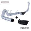 "MBRP 4"" EXHAUST 03-07 FORD POWERSTROKE DIESEL 6.0L NO MUFFLER WITH BLACK TIP - S6212PLM T5051BLK"