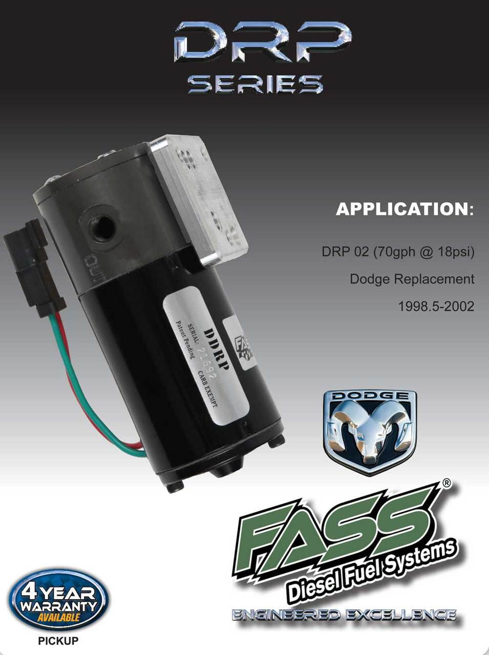 DRP 02 - FASS DDRP FUEL PUMP 1998.5-2002 DODGE CUMMINS DIESEL 5.9L