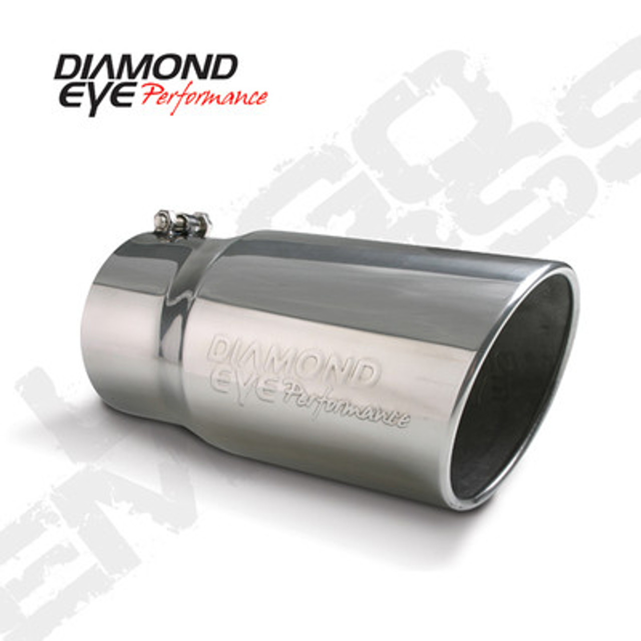 "DIAMOND EYE EXHAUST TIP  4"" INLET 5"" OUTLET STEEL LOGO EMBOSSED 12"" LONG BOLT-ON - 4512BRA-DE"