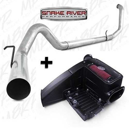 """S6200PLM  75-5062 - MBRP 4"""" EXHAUST w S&B INTAKE  99-03 FORD POWERSTROKE DIESEL 7.3L STRAIGHT PIPE"""