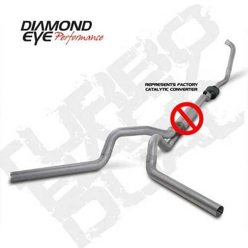 "K4336S-RP - DIAMOND EYE 4"" DUAL EXHAUST 03-07 FORD DIESEL 6.0 STAINLESS STOCK CAT NO MUFFLER"