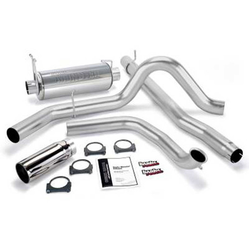 "BANKS 4"" EXHAUST 99-03 FORD F250 F350 POWERSTROKE DIESEL 7.3L CREW CAB SHORT BED - 48656 53516"