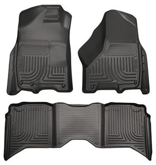 98031 - HUSKY FLOOR LINERS WEATHERBEATER 03-09 DODGE RAM 2500 3500 QUAD CAB BLACK