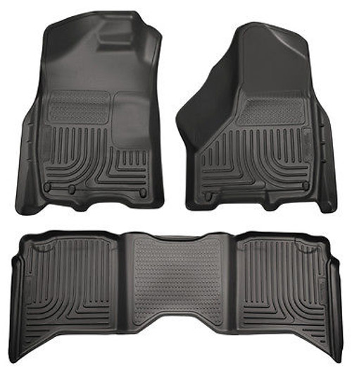 99011 - HUSKY FLOOR LINERS WEATHERBEATER 09-14 DODGE RAM 1500 QUAD CAB BLACK