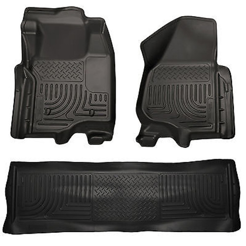 98951 - HUSKY FLOOR LINERS WEATHERBEATER 05-15 TOYOTA TACOMA DOUBLE CAB BLACK