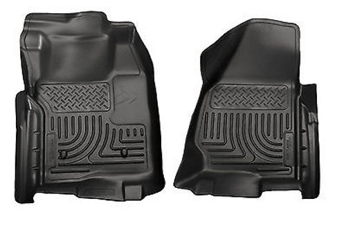 18711 - HUSKY FLOOR LINERS WEATHERBEATER 11-12 FORD F250 F350 STANDARD CAB BLACK