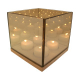 Gold Square Reflection Tealight Holder