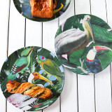Four Melamine Plates, Tropical