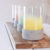 Cement Glass Ombre Candle Holder, green