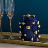 Gold Blue dotted jar
