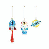 Space Christmas Ornaments, set of three