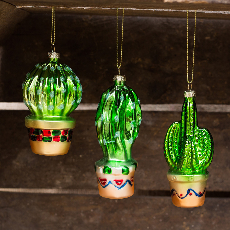 Cactus Christmas Ornaments, Set of 3
