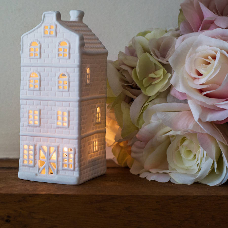 Porcelain Dutch Canal House Tea Light, Tall House