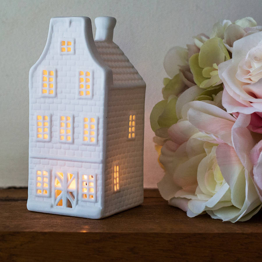 Porcelain Dutch Canal House Tea Light,  Curved Roof House