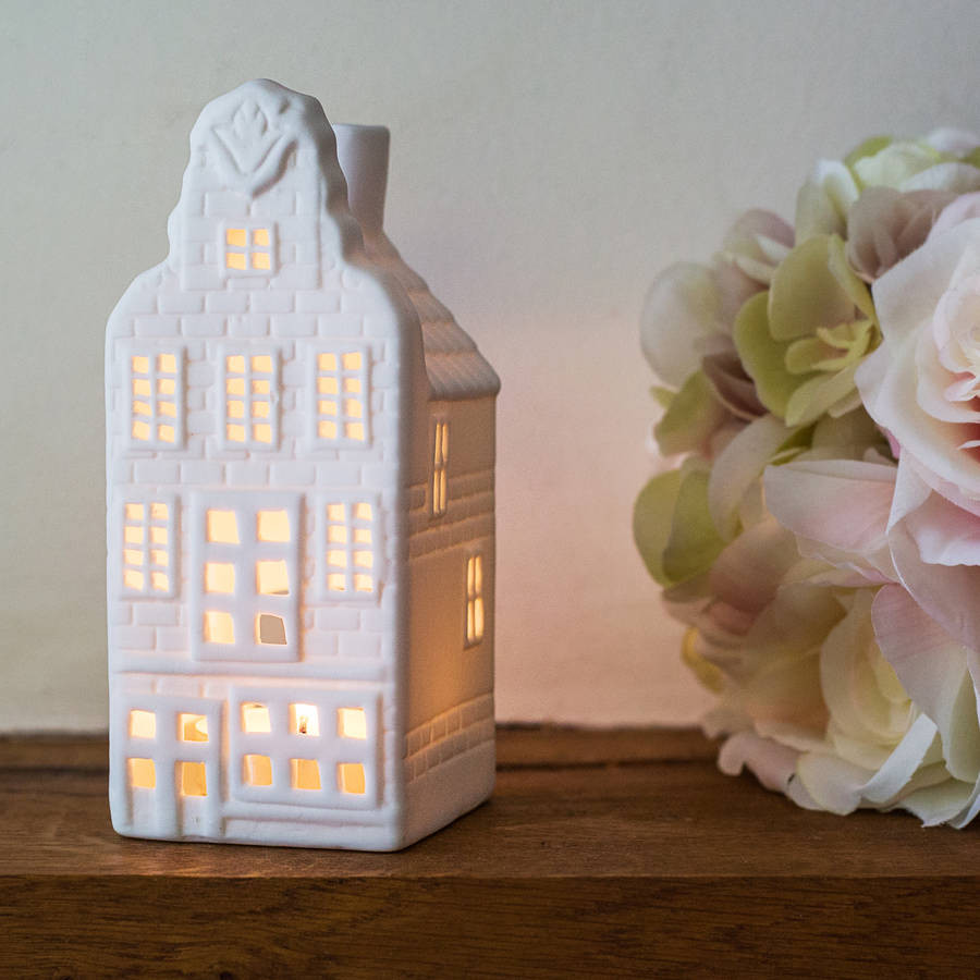 Porcelain Dutch Canal House Tea Light,  Tulip House
