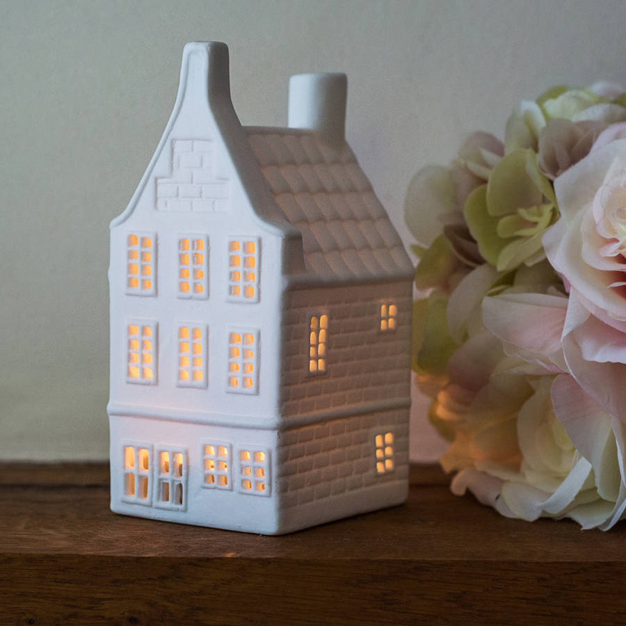 Porcelain Dutch Canal House Tea Light,  Thin Roof House