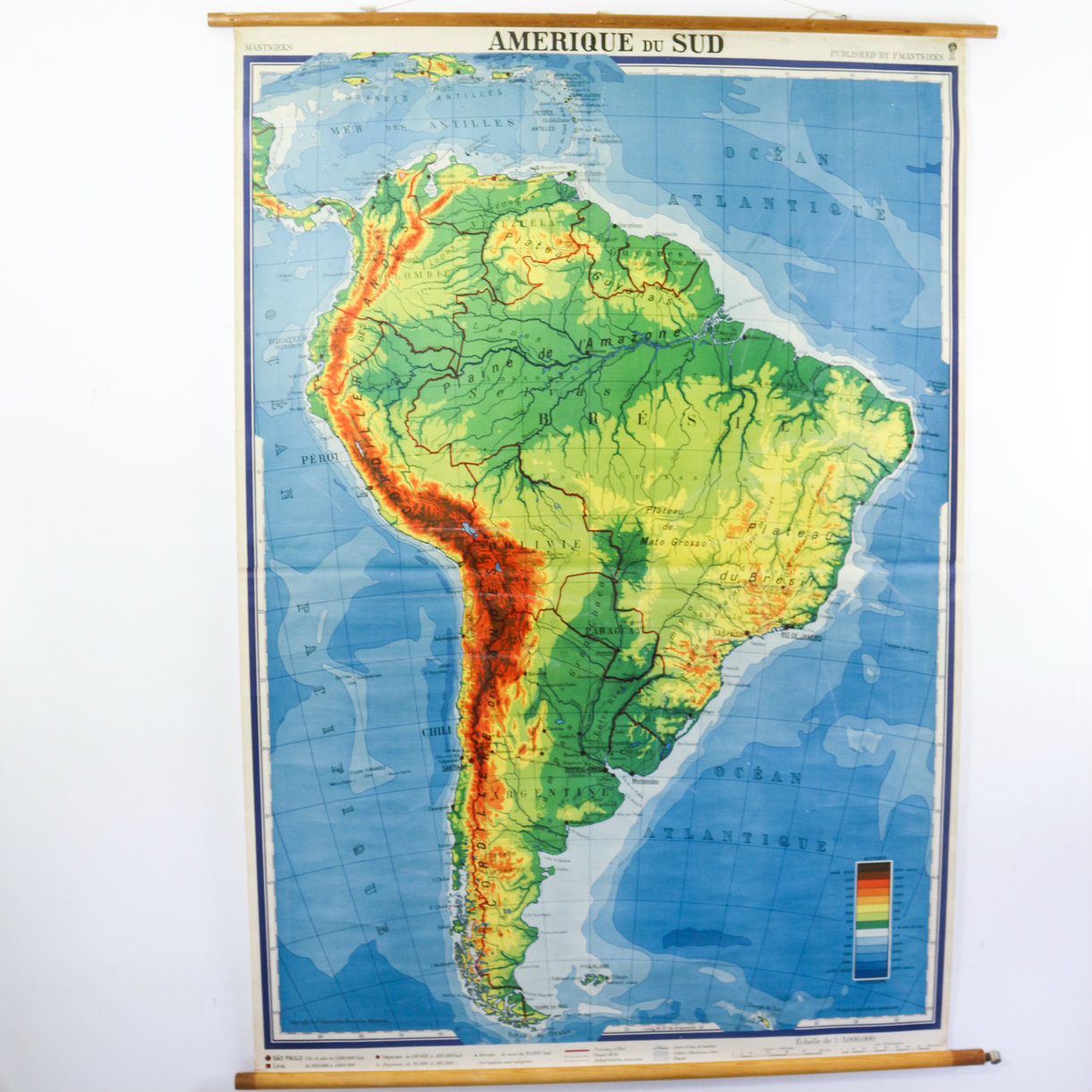 Vintage Pull Down Map Xxl South America Bonnie Bell