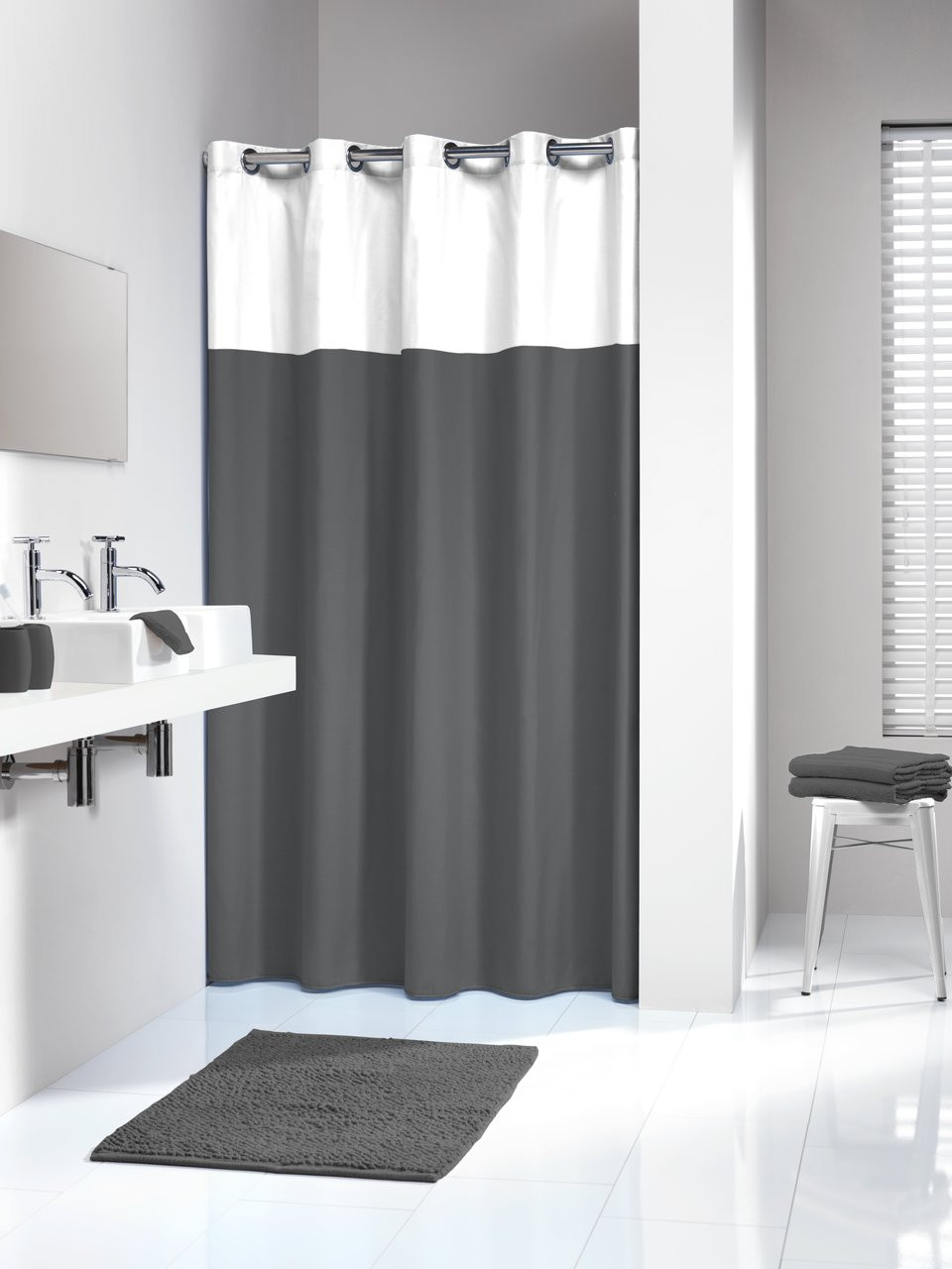 Extra Long Hookless Shower Curtain 72 X 78 Inch Sealskin Doppio Gray