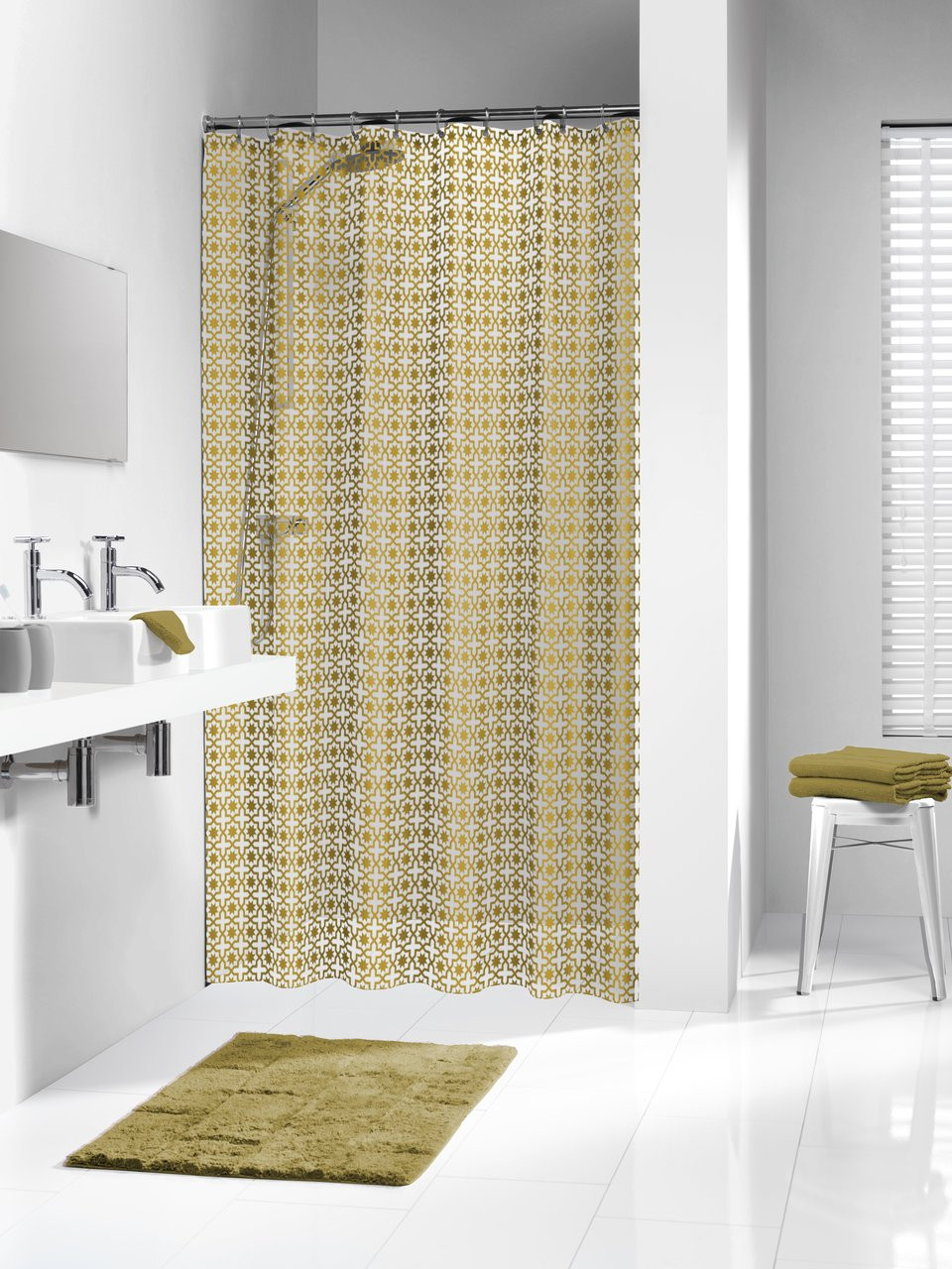 Extra Long Shower Curtain 72 X 78 Inch Sealskin Hammam Gold Peva