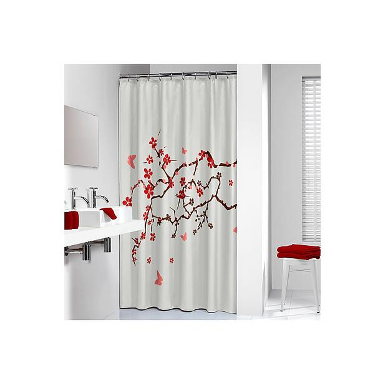 Shower Curtain Sealskin Blossom Print White Fabric