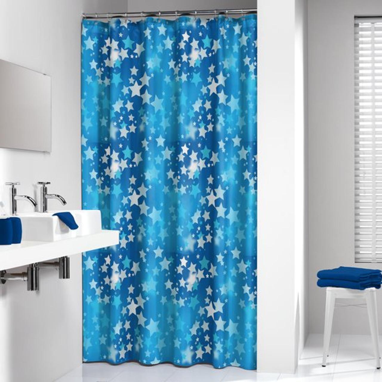 Extra Long Shower Curtain 72 X 78 Inch Sealskin Starry Sky Blue PEVA
