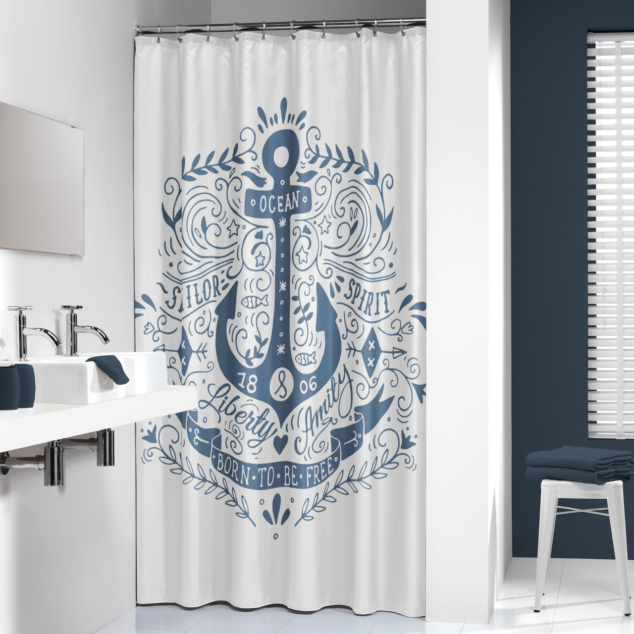 Extra Long Shower Curtain 72 X 78 Inch Sealskin Anchor Blue And White Fabric