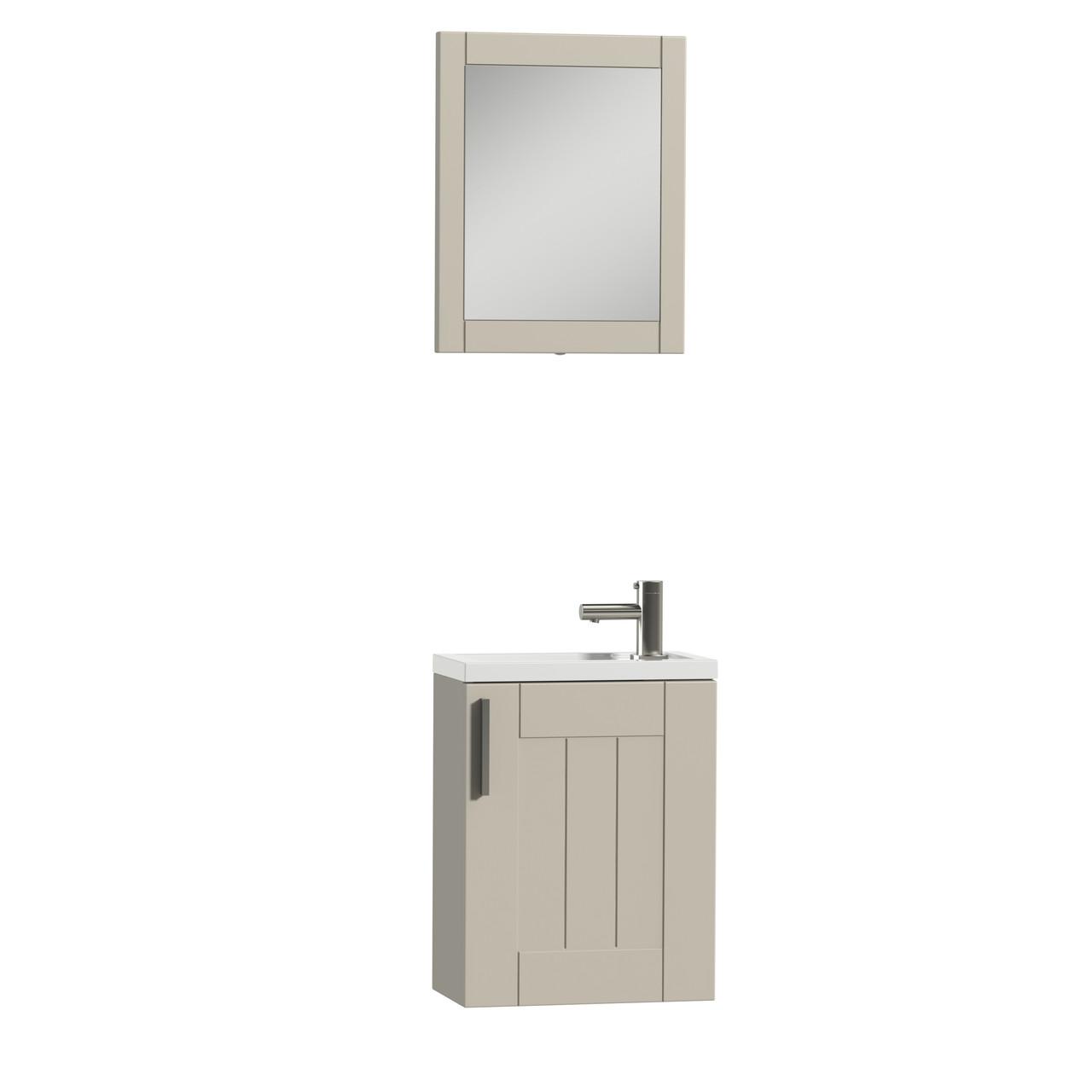 16 Floating Bathroom Vanity Set Tiger Frames Ivory White Oak