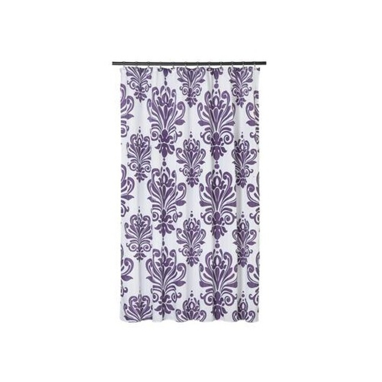 Extra Long Shower Curtain 72 X 78 Inch Gamma Purple And White Baroque Fabric