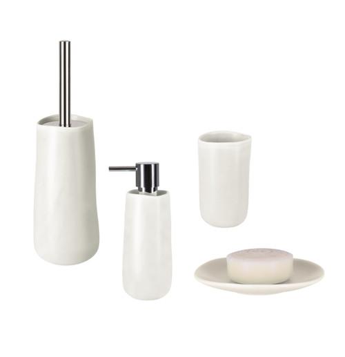 4 Piece Bathroom Accessories Set Spirella Sina White Stoneware Present Usa