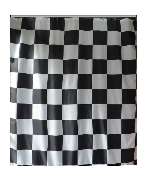 Extra Long Shower Curtain 72 X 78 Inch Gamma Checkered Flag Black And White Fabric