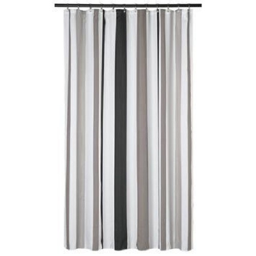 Extra Long Shower Curtain 72 X 78 Inch Gamma Gray And Taupe Stripes Fabric