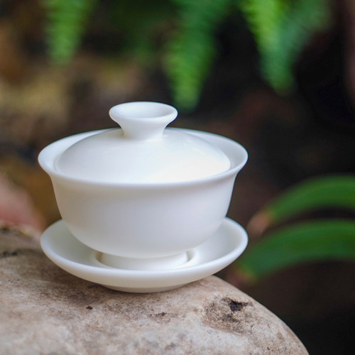 Mutton Fat Jade Porcelain Gaiwan 羊脂玉瓷蓋碗