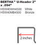 """Code Approved 2"""" """"U"""" Header 2"""" x .094""""  Available in White Bronze"""