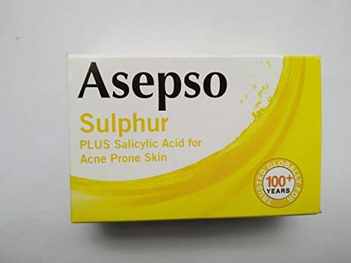 Asepso Sulphur Soap Plus Salicylic Acid for Acne Prone Skin, 80 gram