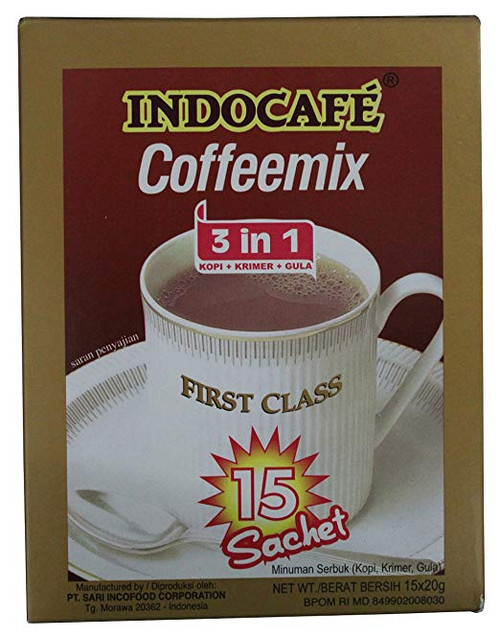 Indocafe Coffeemix 3 in 1 First Class, 15 Sachets Per Box