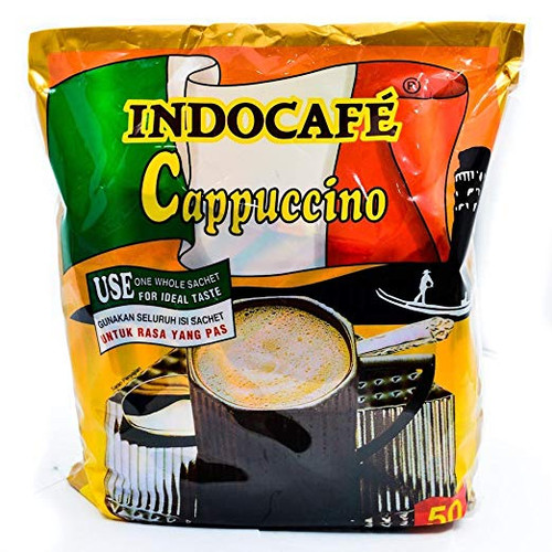 Indocafe Cappuccino Instant Coffee 50-ct, 1250 Gram
