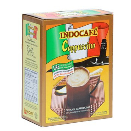 Indocafe Cappuccino Instant Coffee box of 5-ct, 125 Gram
