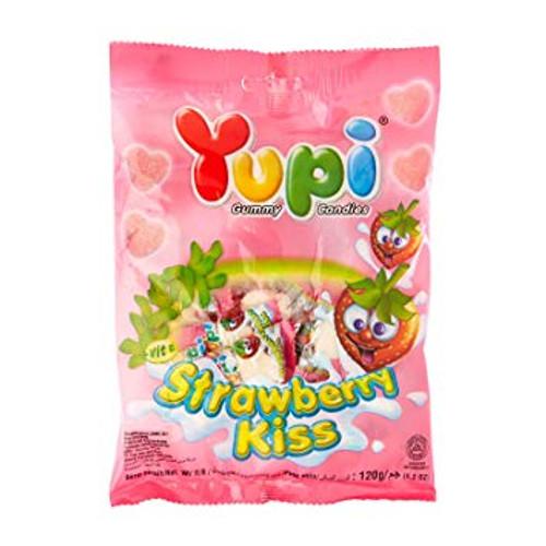 Yupi Gummy Candy Strawberry Kiss, 120 Gram / 4.2 Oz