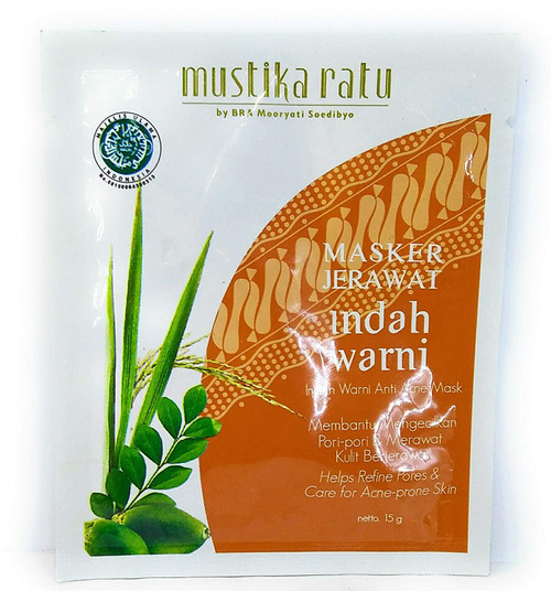Mustika Ratu Masker Indah Warni Anti Acne Mask, 15 Gram