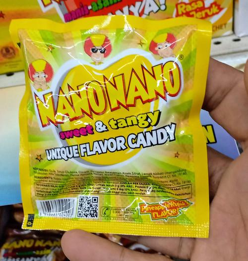 Nano Nano Rasa Rujak Nanas (Pineapple Salad) Candy, 12.5 gr (6 sachets)