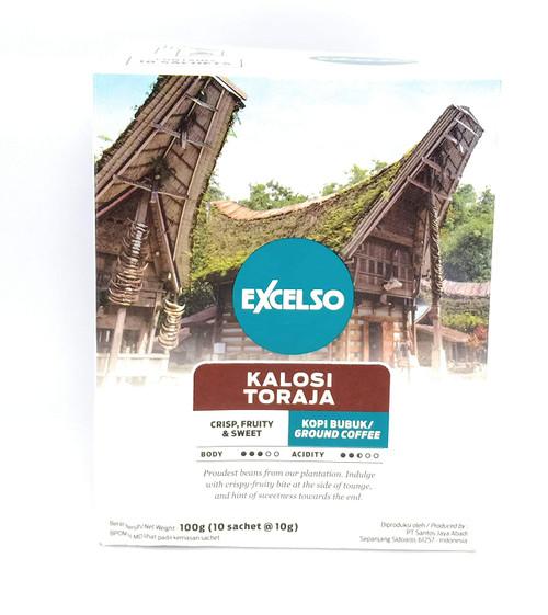 Excelso Toraja Kalosi - Ground Coffee, 100 Gram (10 sachet @10g)
