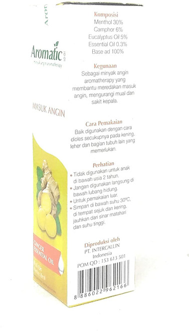 Aromatic 1001 Aromatherapy Oil - Masuk Angin (with Ginger Oil), 8 Ml