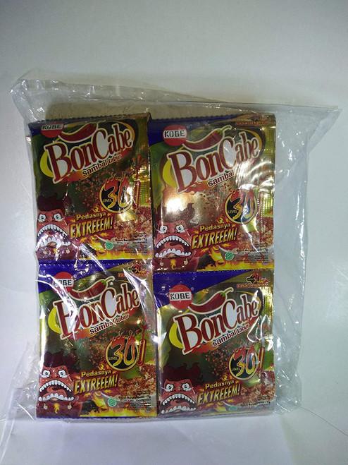 Kobe Bon Cabe (Boncabe) Sambal Tabur (Sprinkle Chili Flakes) Level 30, 7 Gram (24 Sachets)